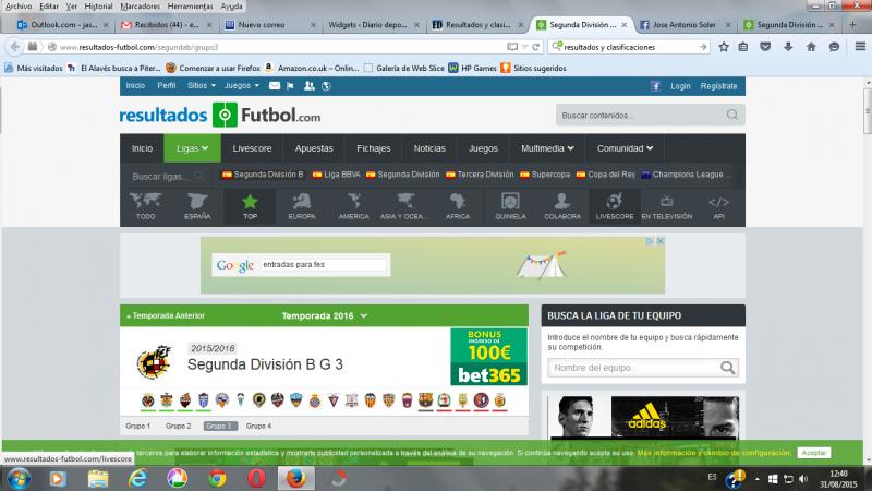 Resultados y clasificaciones online de todas las Ligas de fútbol ...
