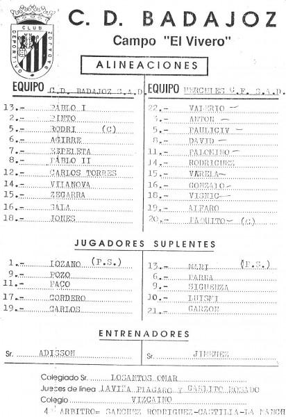 Alineaciones Badajoz-Hércules 96